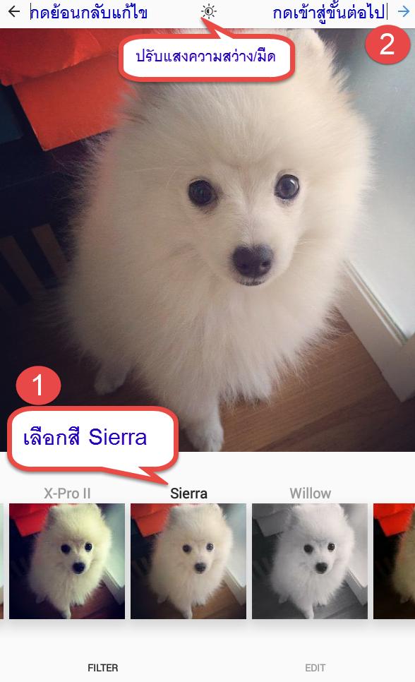 แต่งรูป IG filter Sierra